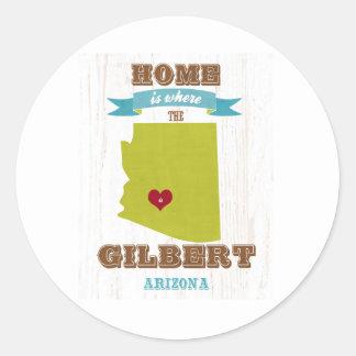Gilbert, mapa de Arizona - casero es donde está el Pegatina Redonda