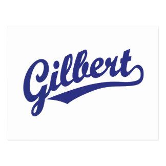 Gilbert script logo postcard