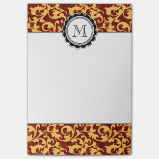 Gilded Age Baroque Damask Swirls Red and Gold Post-it® Notes