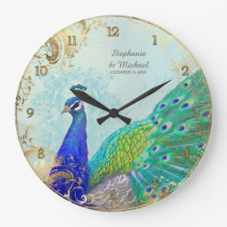 Gilded Age Peacock Feathers Faux Gold Leaf Vintage Large Clock