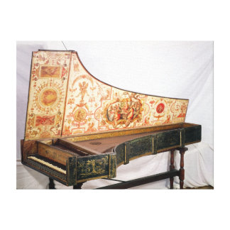 Gilded and painted harpsichord canvas print