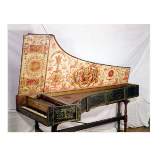 Gilded and painted harpsichord postcard