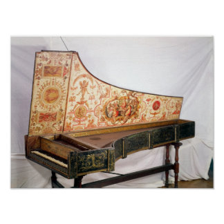 Gilded and painted harpsichord poster