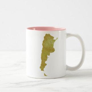 Gilded Argentina Map - Argentina Dorada Two-Tone Coffee Mug