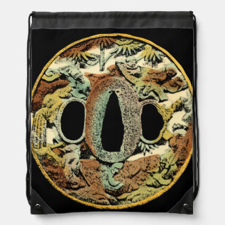 Gilded Asian Medallion by Vision Studio Drawstring Bag