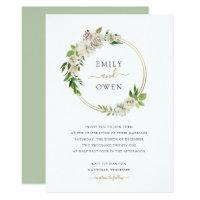 Gilded Blooms Floral Wreath Wedding Invitation