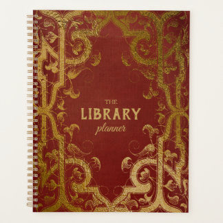 Gilded Book Cover Library Planner Red
