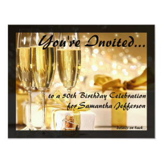 "Gilded Bubbly 50th Birthday Party 4.25"" X 5.5"" Invitation Card"