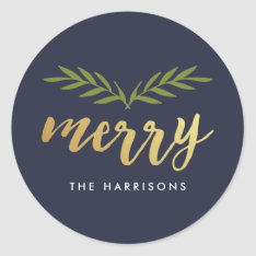 Gilded Christmas Personalized Stickers at Zazzle