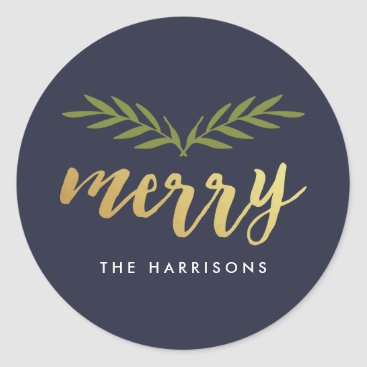 Christmas Themed Gilded Christmas Personalized Stickers