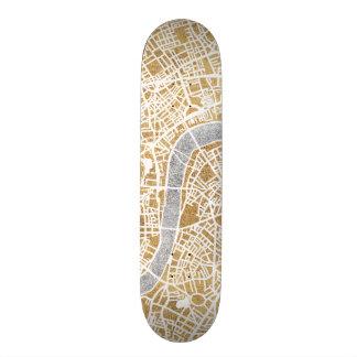 Gilded City Map Of London Skateboard