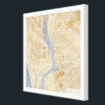 "Gilded City Map Of New York Canvas Print<br><div class=""desc"">&#169; Laura Marshall / Wild Apple. Gold downtown map of New York</div>"