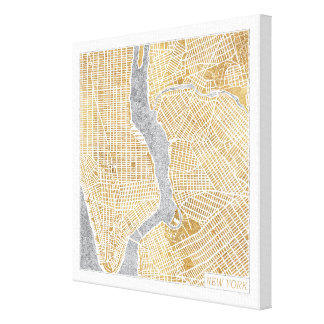 Gilded City Map Of New York Canvas Print