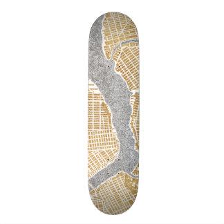 Gilded City Map Of New York Skateboard
