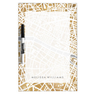 Gilded City Map Of Paris Dry-Erase Board