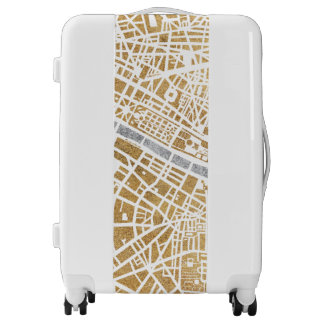 Gilded City Map Of Paris Luggage