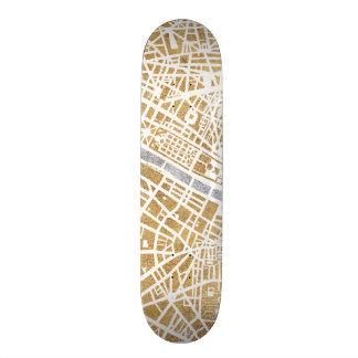 Gilded City Map Of Paris Skateboard