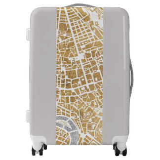 Gilded City Map Of Rome Luggage