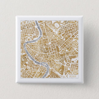 Gilded City Map Of Rome Pinback Button