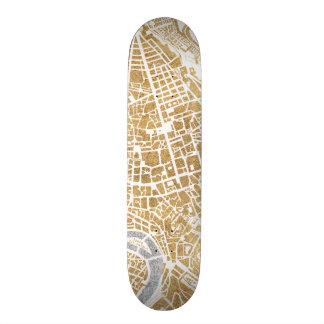 Gilded City Map Of Rome Skateboard