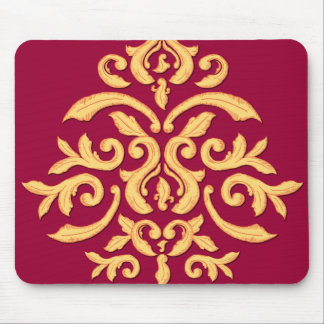 Gilded Damask Mousepad for the Elegant Office Desk