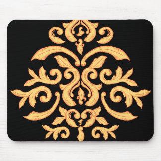 Gilded Damask Mousepad for the Elegant Office Desk