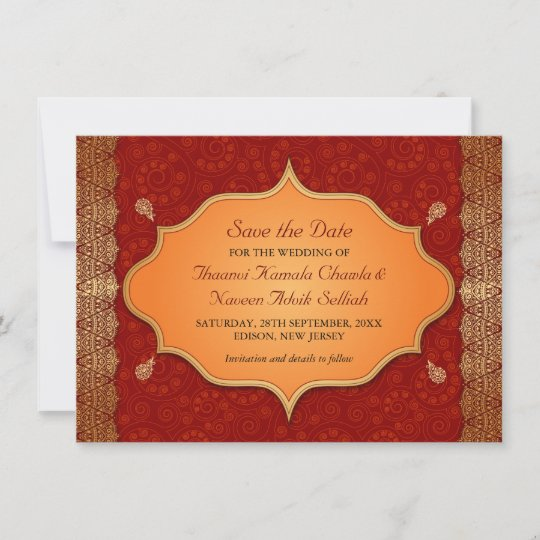 Gilded Edge Indian Frame Save the Date | Zazzle.com
