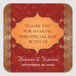Gilded Edge Indian Frame Wedding Square Stickers