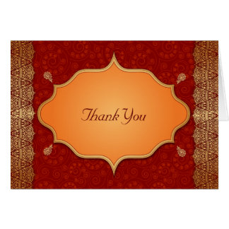 Gilded Edge Indian Frame Wedding Thank You Card