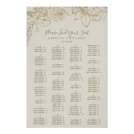 Gilded Floral   Cream Alphabetical Seating Chart