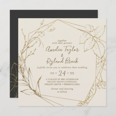 Gilded Floral   Cream and Gold All In One Wedding Invitation