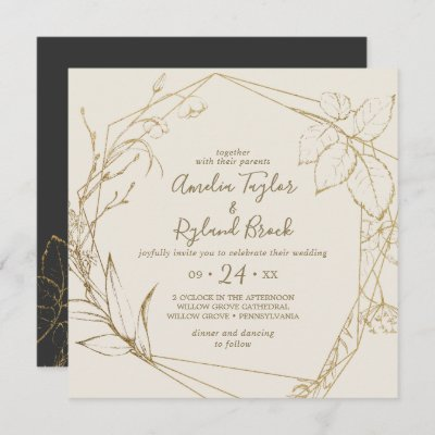 Gilded Floral | Cream and Gold All In One Wedding Invitation