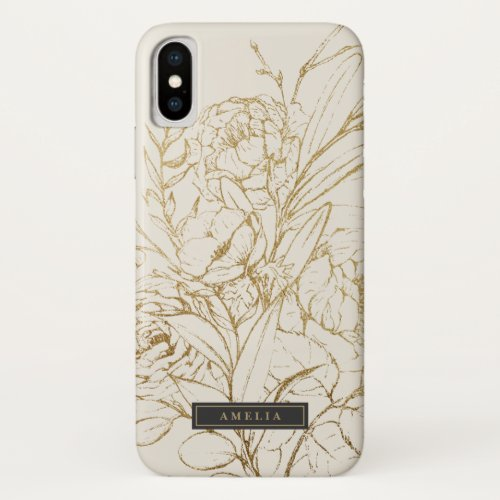Gilded Floral Cream and Gold Personalized Name Phone Case