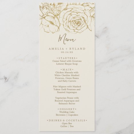 Gilded Floral | Cream and Gold Wedding Dinner Menu