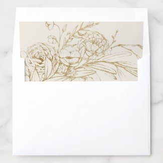 Gilded Floral | Cream and Gold Wedding Envelope Liner