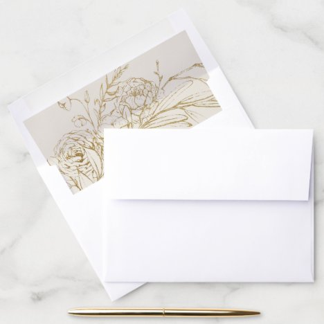 Gilded Floral | Cream and Gold Wedding Envelope Liner
