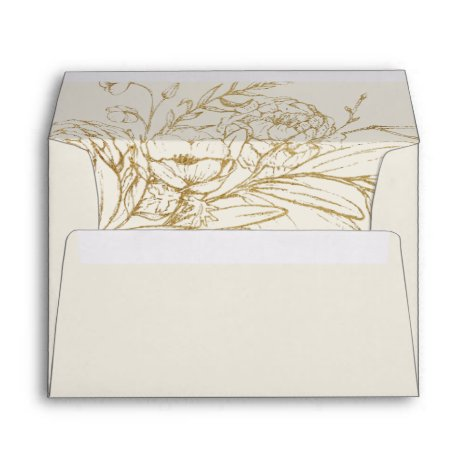 Gilded Floral | Cream and Gold Wedding Invitation Envelope