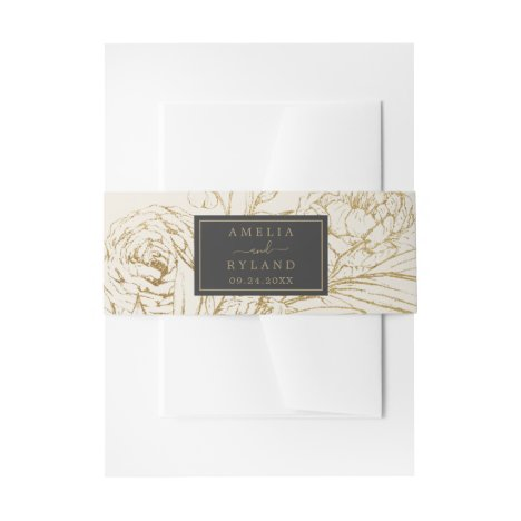 Gilded Floral Cream Wedding Invitation Belly Band