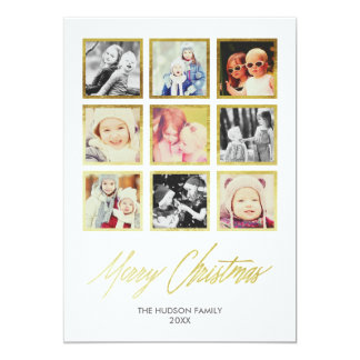 Gilded Gallery Square Photos Instagram Holiday 5x7 Paper Invitation Card