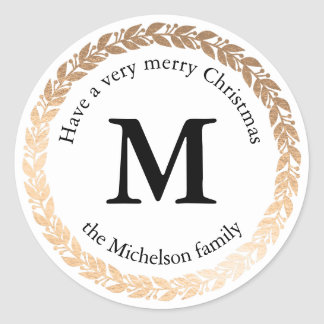 Gilded Garland Elegant Circle Monogram Classic Round Sticker