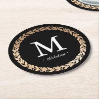 Gilded Garland Monogrammed Cocktail Round Paper Coaster