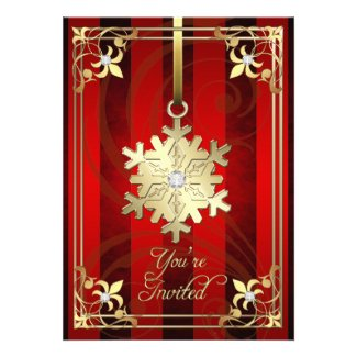 Gilded Glamorous Snowflake Red Holiday Card