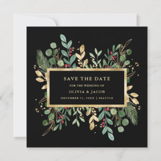 Gilded Greenery on Black | Christmas Holiday Photo Save The Date
