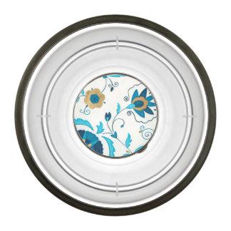 Gilded Indigo Flowers with White Background Bowl