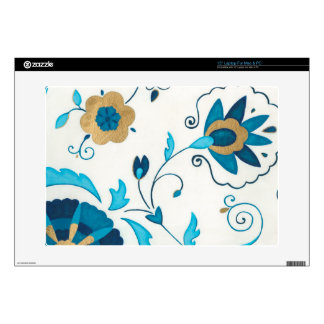 """Gilded Indigo Flowers with White Background Decal For 15"""" Laptop"""