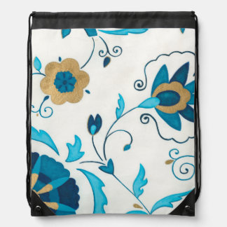 Gilded Indigo Flowers with White Background Drawstring Backpack