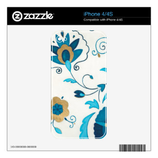 Gilded Indigo Flowers with White Background iPhone 4S Skins