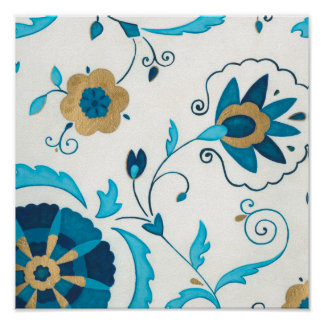 Gilded Indigo Flowers with White Background Poster