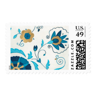Gilded Indigo Flowers with White Background Stamp