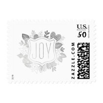 Gilded Joy Faux Silver Foil Holiday Postage Stamp